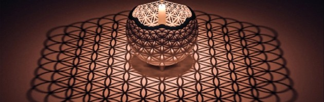 This is a 3D model designed to project the flower of life from a candle flame